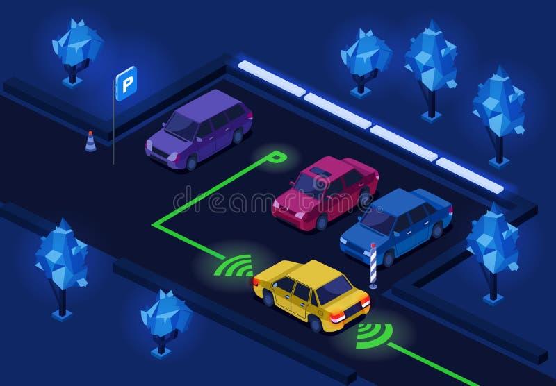 Ejemplo isométrico del vector 3D del estacionamiento para la iluminación del estacionamiento de la noche del diseño de la tecnolo libre illustration