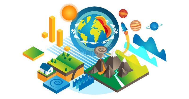 Ejemplo isométrico del vector de Geo Colección del elemento de la geología y de la geografía stock de ilustración
