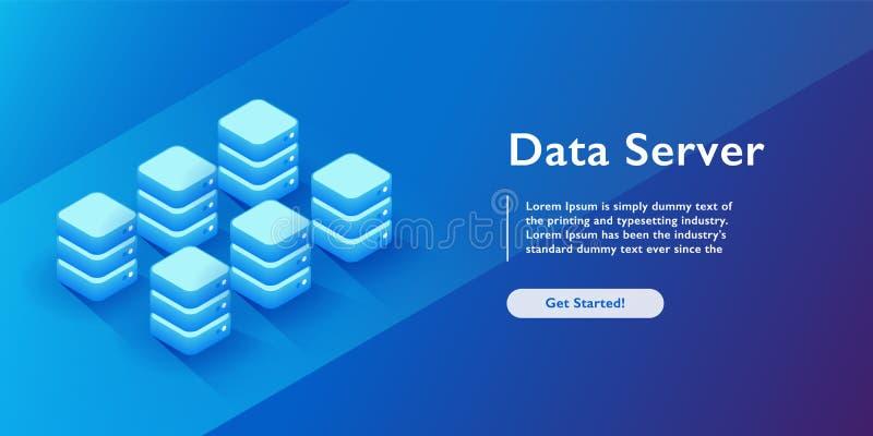 Ejemplo isométrico del vector de la base de datos de Datacenter Servidor de recibimiento 3d o fondo abstracto del sitio del centr ilustración del vector