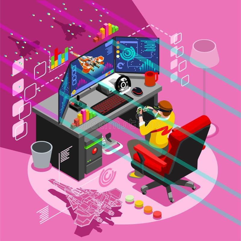 Ejemplo isométrico del vector de la gente del icono del videojuego de Android libre illustration