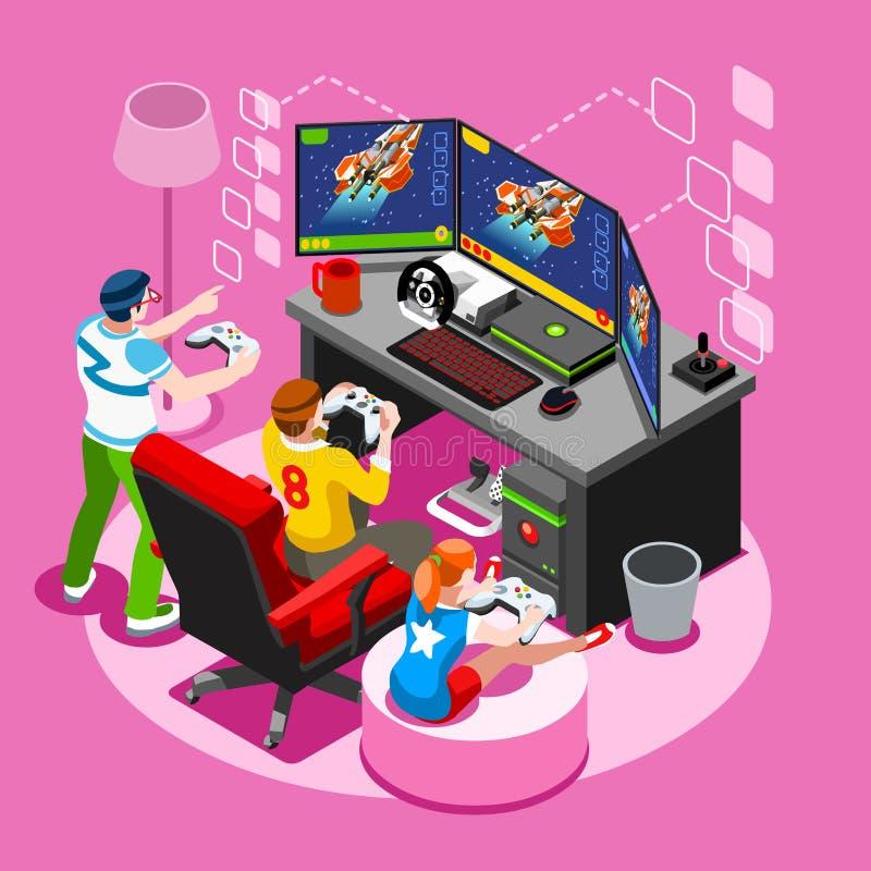 Ejemplo isométrico del vector de la gente del juego de la pantalla del videojuego stock de ilustración