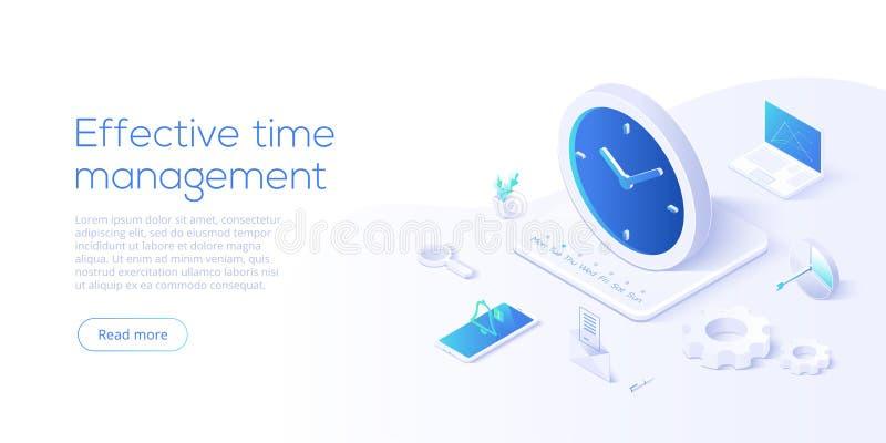 Ejemplo isométrico del vector de la gestión de tiempo eficaz Organización de la prioridad de la tarea para la productividad efica stock de ilustración
