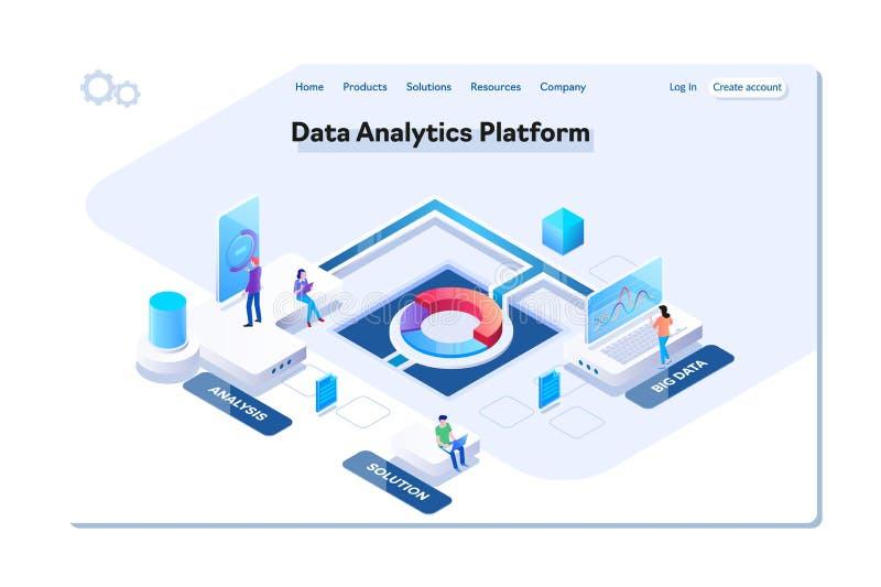 Ejemplo isométrico del vector de la plataforma del analytics de los datos Gente que obra recíprocamente con las cartas y que anal ilustración del vector