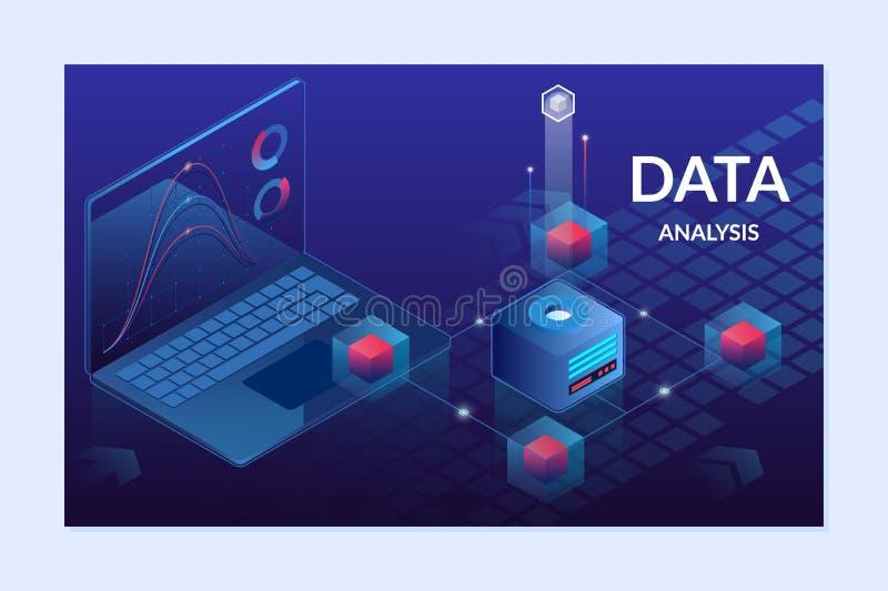 Ejemplo isométrico del vector de la plataforma del analytics de los datos Plantilla de aterrizaje de la página libre illustration