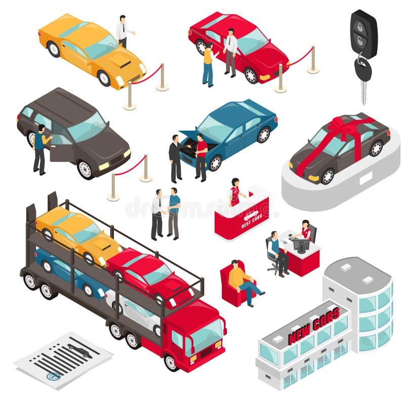Ejemplo isométrico del vector de la sala de exposición del concesionario de automóviles ilustración del vector