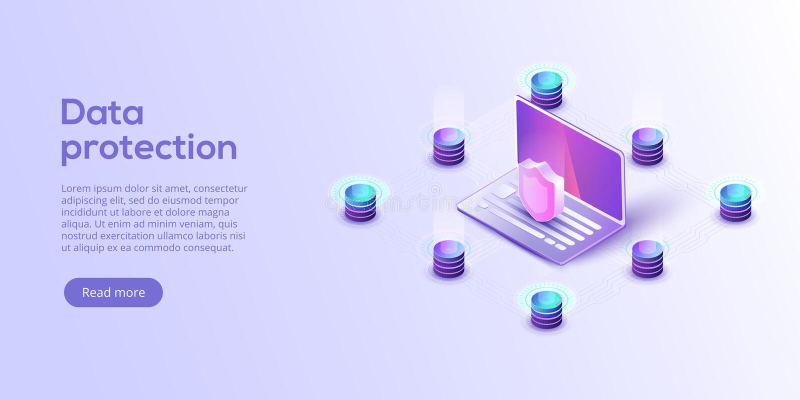Ejemplo isométrico del vector de la seguridad de datos de la red Servicio en línea stock de ilustración