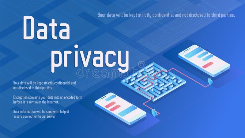 Ejemplo isométrico del vector de la seguridad de la privacidad de datos con dos teléfonos stock de ilustración