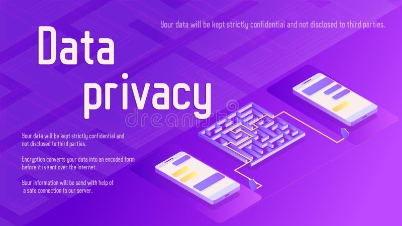 Ejemplo isométrico del vector de la seguridad de la privacidad de datos con dos teléfonos ilustración del vector