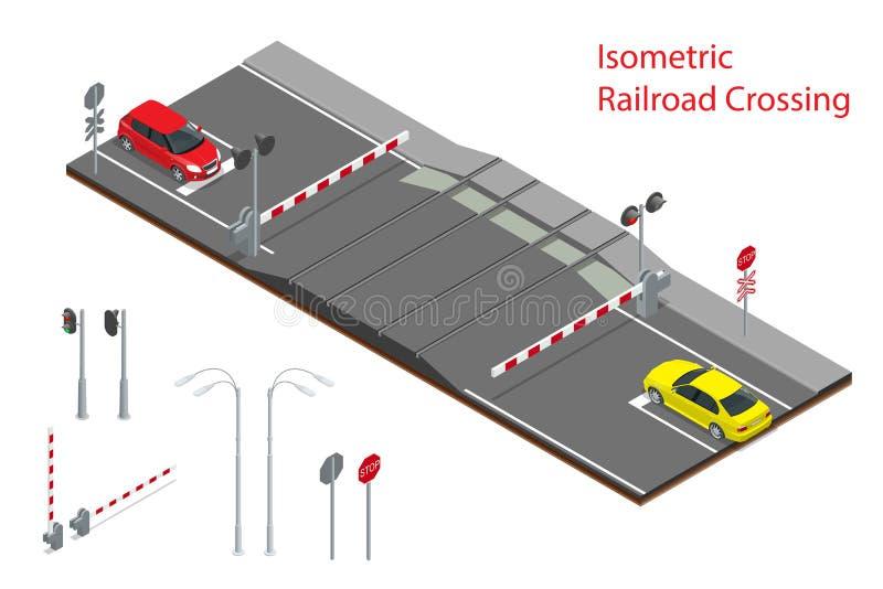 Ejemplo isométrico del vector del cruce ferroviario Un paso a nivel ferroviario, con las barreras se cerró y el destellar de las  ilustración del vector
