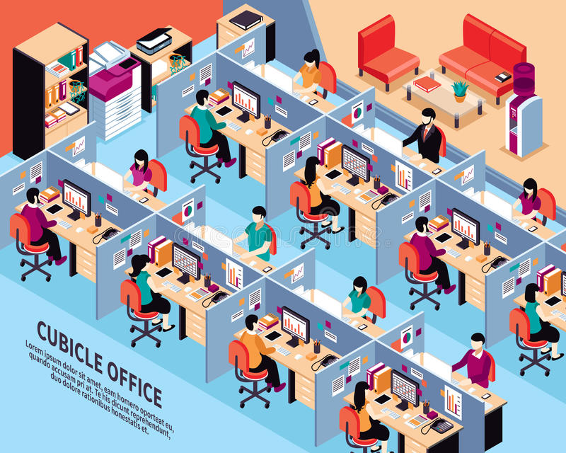 Ejemplo isométrico del vector del lugar de trabajo de la oficina stock de ilustración