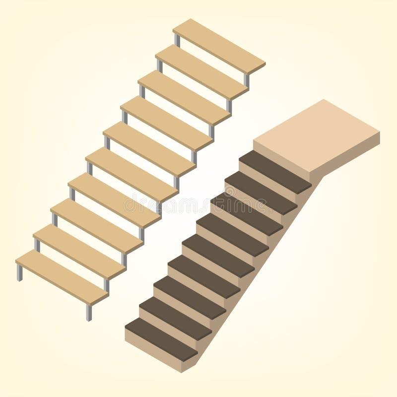 Ejemplo isométrico del vector del tramo de escalones libre illustration