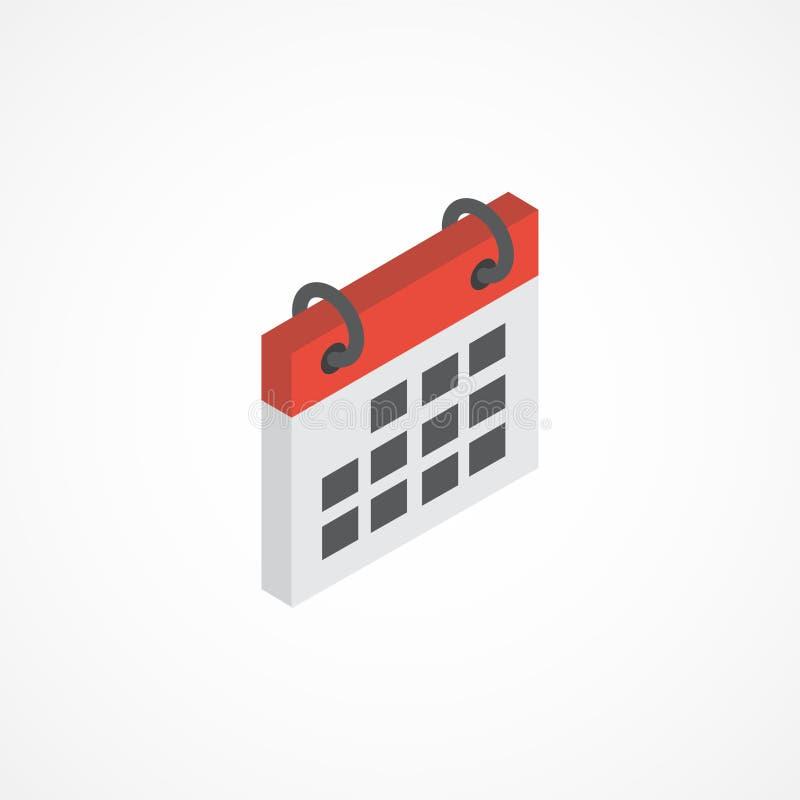 Ejemplo isométrico del vector del icono 3d del calendario ilustración del vector