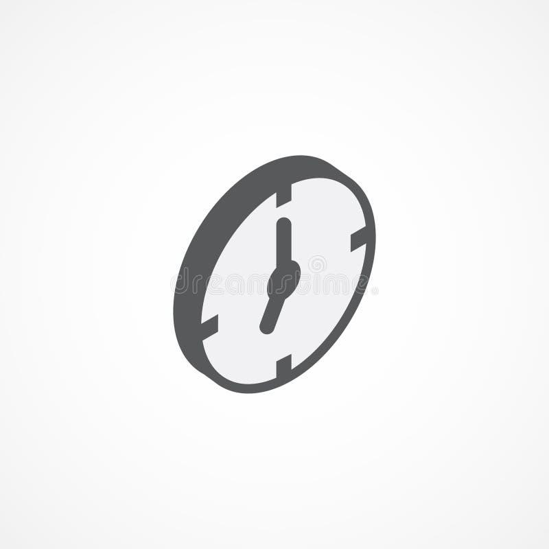 Ejemplo isométrico del vector del icono 3d del reloj ilustración del vector