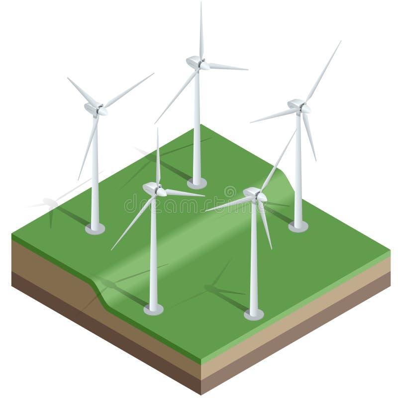 Ejemplo isométrico del vector plano 3d Turbinas de viento, campo amarillo Molinoes de viento en la salida del sol Energía de Eco stock de ilustración