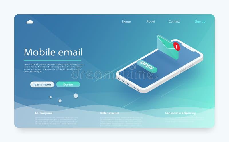 Ejemplo isométrico del vector del servicio de correo electrónico Concepto de comercialización del email, estudio de mercados Nuev stock de ilustración