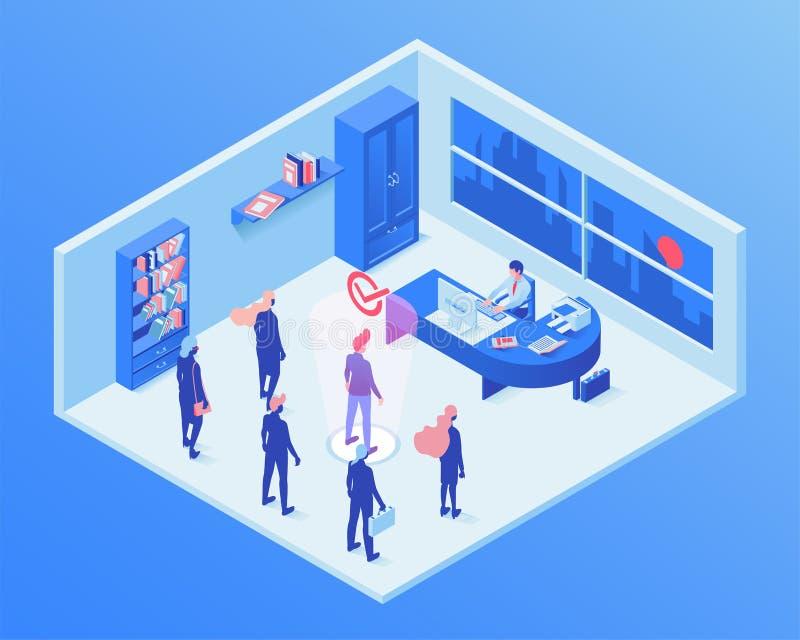 Ejemplo isométrico del vector del servicio de empleo Agente de la hora que elige al candidato de trabajo, encargado del talento q libre illustration