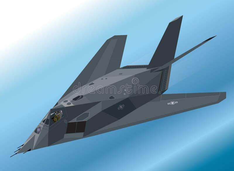 Ejemplo isométrico detallado de un combatiente de la cautela del Nighthawk F-117 stock de ilustración