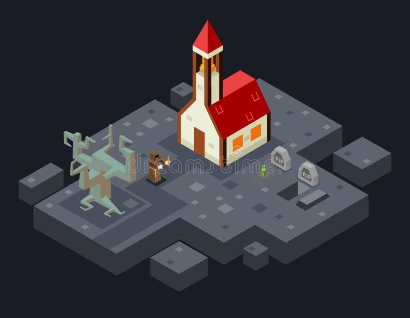Ejemplo isométrico maldecido del vector 3d del diseño plano de Evil Tree Grave del monje del fantasma de la iglesia stock de ilustración