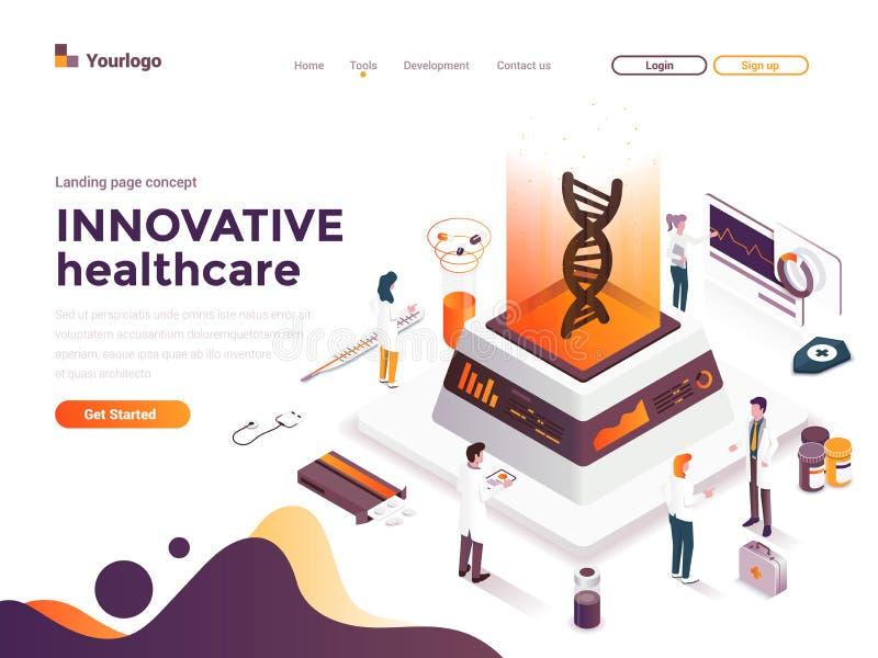 Ejemplo isométrico moderno del concepto del color plano - atención sanitaria innovadora libre illustration
