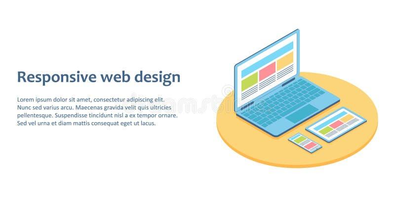 Ejemplo isométrico plano de dispositivos con la página web de la distinta vista una libre illustration