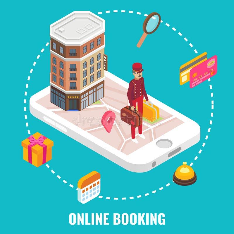 Ejemplo isométrico plano de hotel de la reservación del vector en línea del concepto stock de ilustración