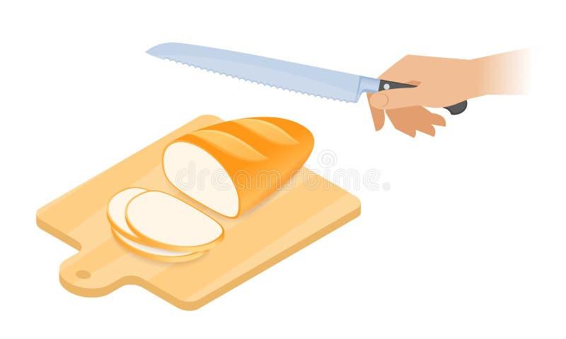 Ejemplo isométrico plano de la tabla de cortar, barra de pan, kni libre illustration