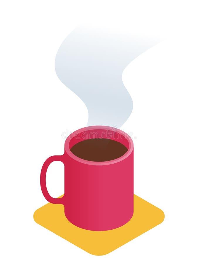 Ejemplo isométrico plano de la taza de café Vector de la oficina concentrado ilustración del vector