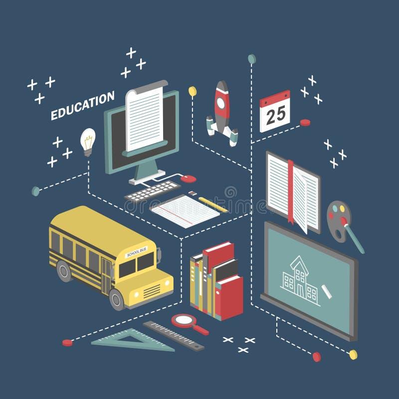 Ejemplo isométrico plano del concepto de la educación 3d libre illustration