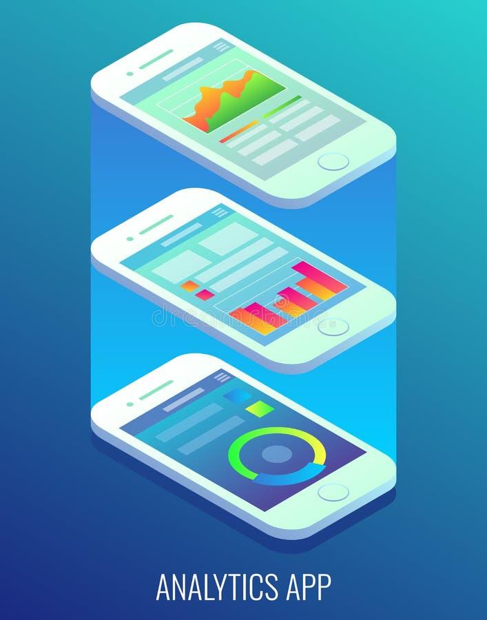 Ejemplo isométrico plano del vector del concepto del app del Analytics stock de ilustración