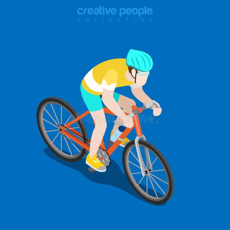 Ejemplo isométrico plano del vector del ciclista que compite con ilustración del vector