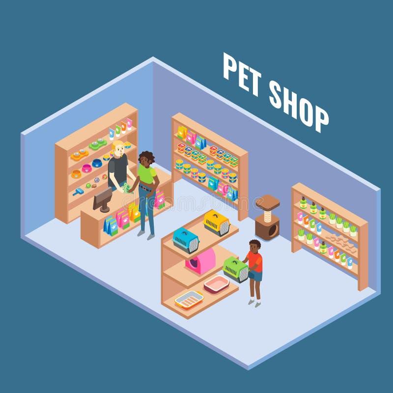 Ejemplo isométrico plano del vector interior cortado de la tienda de animales stock de ilustración
