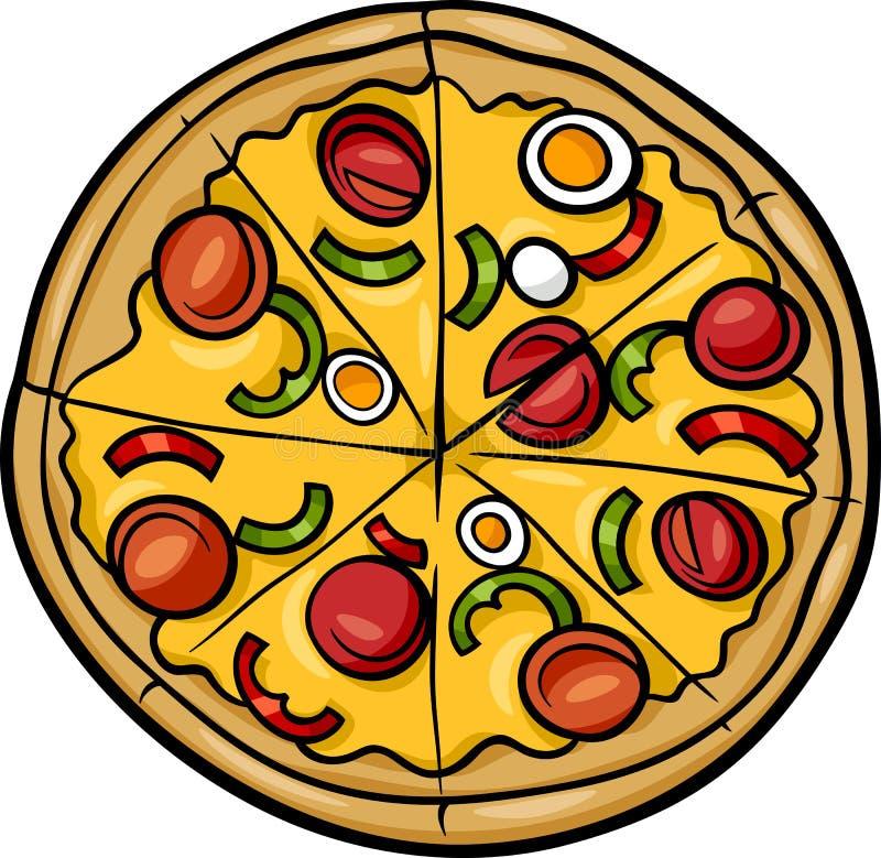 Ejemplo italiano de la historieta de la pizza stock de ilustración