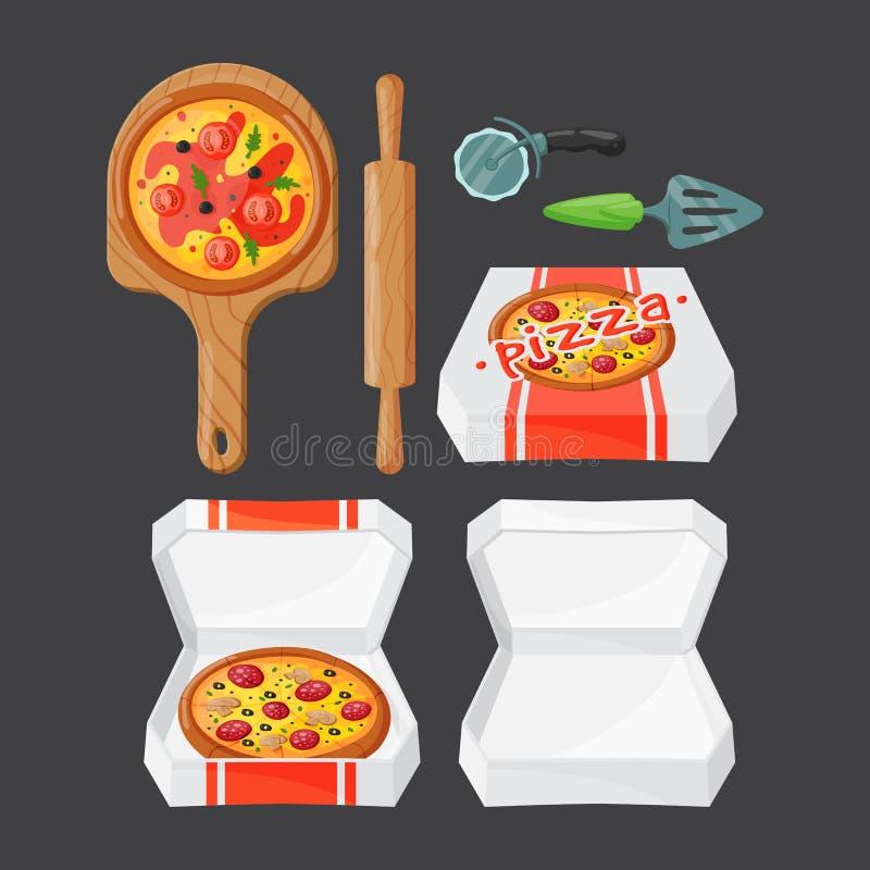 Ejemplo italiano del vector de los iconos de la pizza del cocinero ilustración del vector