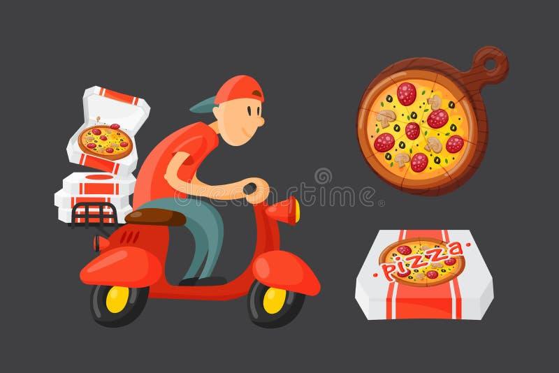 Ejemplo italiano del vector del muchacho de entrega de la pizza del cocinero stock de ilustración
