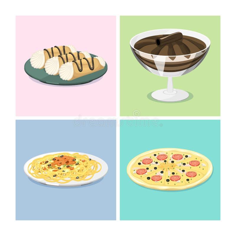 Ejemplo italiano tradicional fresco de cocinar hecho en casa delicioso del vector del almuerzo de la cocina de la comida de Itali ilustración del vector