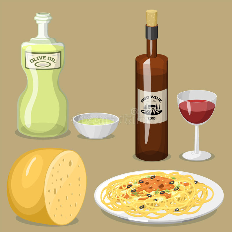 Ejemplo italiano tradicional fresco de cocinar hecho en casa delicioso del vector del almuerzo de la cocina de la comida de Itali stock de ilustración