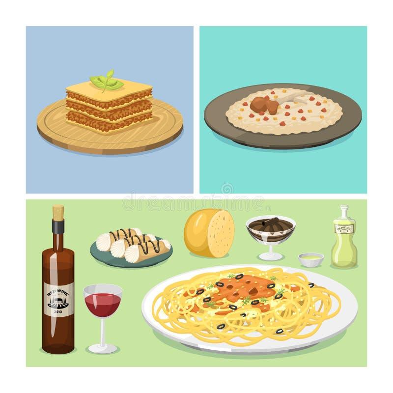 Ejemplo italiano tradicional fresco de cocinar hecho en casa delicioso del vector del almuerzo de la cocina de la comida de Itali libre illustration