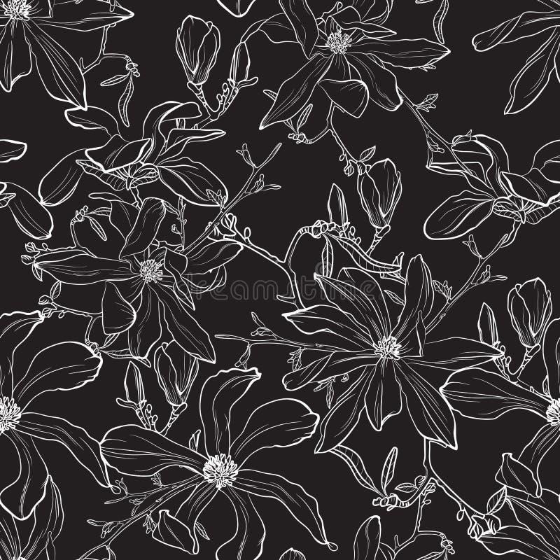 Ejemplo japonés de la flor de la magnolia ilustración del vector