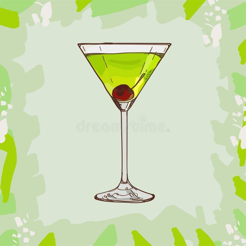 Ejemplo japonés del cóctel del deslizador Vector exhausto de la barra de la mano clásica alcohólica de la bebida Arte pop ilustración del vector