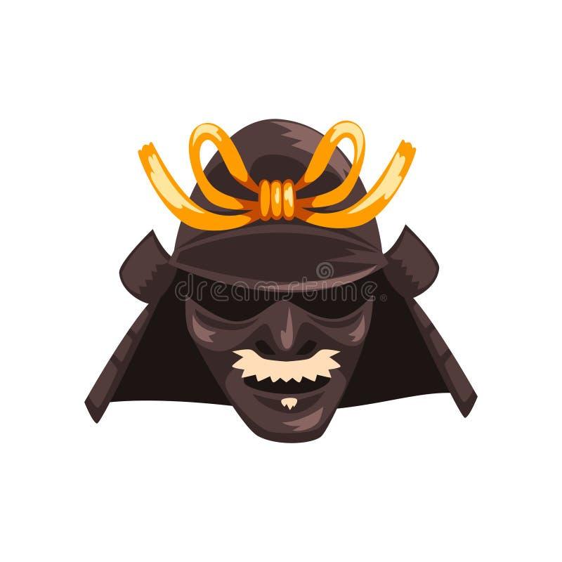 Ejemplo japonés temible del vector de la máscara de la guerra del guerrero del samurai en un fondo blanco stock de ilustración