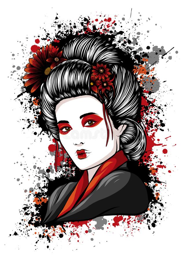 Ejemplo japon?s hermoso del vector de Holds Red Fan del geisha libre illustration