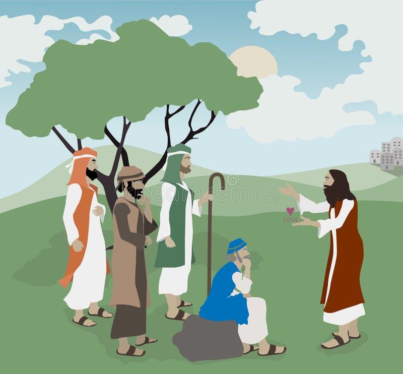 Ejemplo Jesus Explains Love de la biblia ilustración del vector