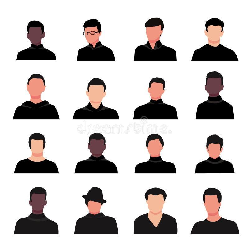 Ejemplo joven hermoso del vector de los retratos del individuo de la historieta Sistema del avatar de la cara del hombre aislado  stock de ilustración