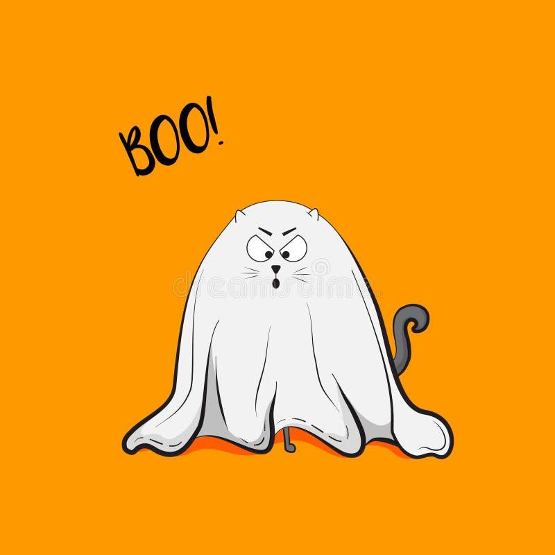 Ejemplo juguetón asustadizo del fantasma del gato del vector Tarjeta 2018 de felicitación de Halloween Lindo animal fantasmagóric stock de ilustración