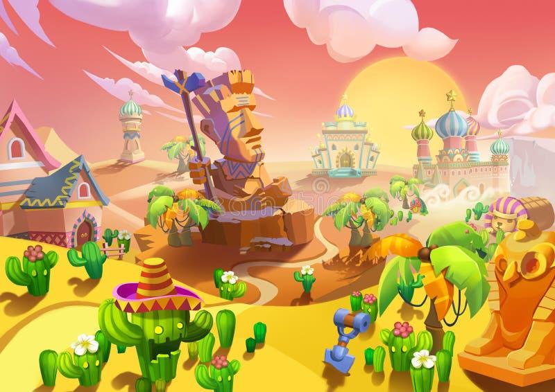 Ejemplo: La ciudad del desierto En la entrada, hay un guardia de piedra grande stock de ilustración