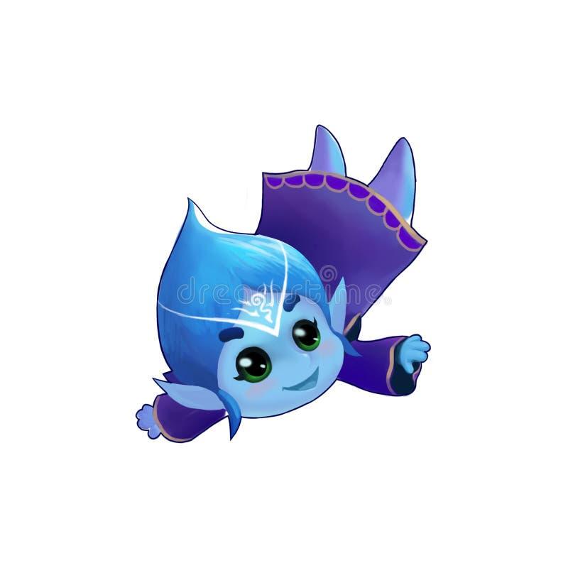 Ejemplo: La muchacha del hielo, princesa de la nieve, volando en el aire libre illustration