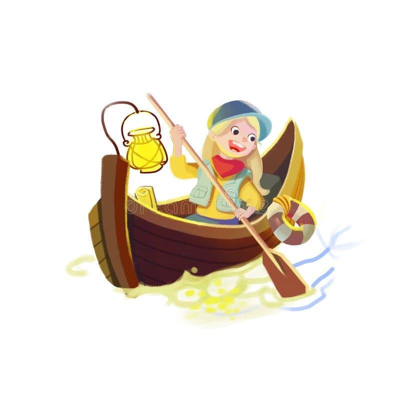 Ejemplo: La muchacha en un bote pequeño aislado en el fondo blanco libre illustration