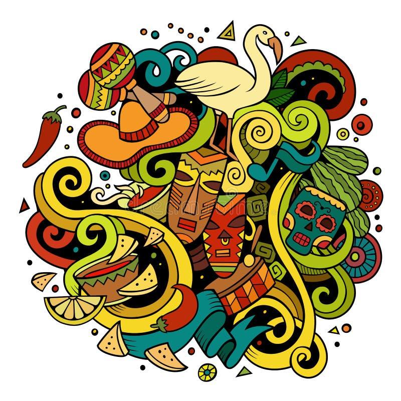 Ejemplo latinoamericano de los garabatos a mano de la historieta stock de ilustración