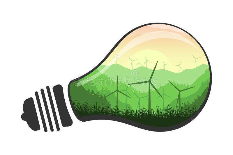 Ejemplo limpio de la energ?a renovable del vector Turbina de viento del concepto de la energ?a de Eco en una bombilla Aislado en  libre illustration