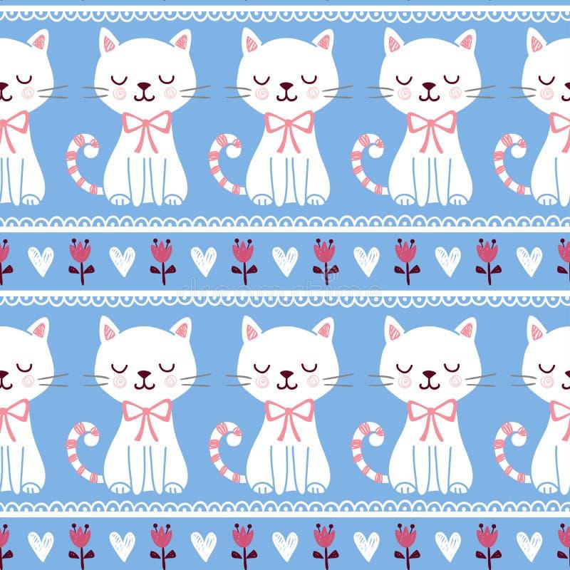 Ejemplo lindo de inconsútil con los gatos stock de ilustración